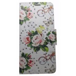 Meiyue Θήκη Book Wallet Πορτοφόλι Με Στρασάκια Και Σχέδιο Λουλούδια (Samsung Galaxy A6 Plus 2018 & Samsung Galaxy J8 2018)