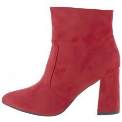 Beautifulshop Suede Γυναικεία Μποτάκια Ankle Με Τακούνι Σε Κόκκινο Χρώμα