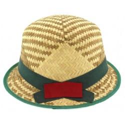 Παιδικό καπέλο ψάθινο με πράσινη κορδέλα
