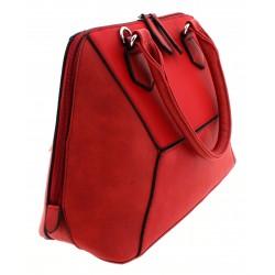 Γυναικεία τσάντα κόκκινο με διπλό φερμουάρ δερματίνη σε τρεις υφές