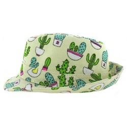 Παιδικό καπέλο υφασμάτινο καβουράκι εκρού χρώμα με σχέδια